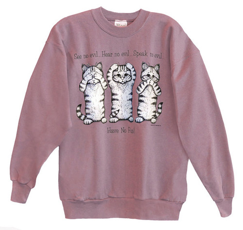 NO EVIL CAT SWEATSHIRT ROSE