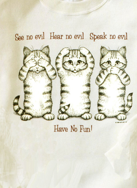 NO EVIL CAT T-SHIRT NATURAL