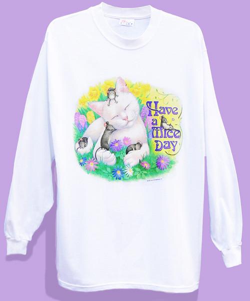 MICE DAY LONG SLEEVE CAT T-SHIRT WHITE