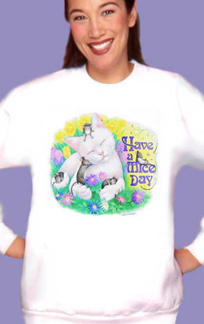 MICE DAY CAT SWEATSHIRT WHITE