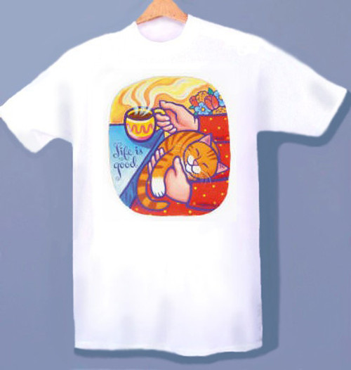 LIFE IS GOOD CAT T-SHIRT WHITE