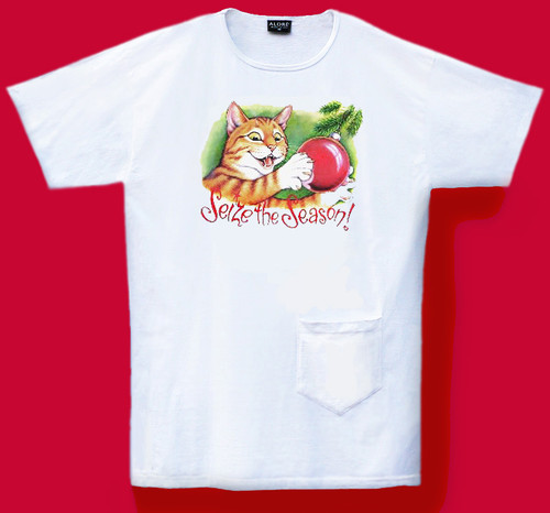 What a naughty kitty in that Christmas tree! Great one size fits most cotton nightshirt features a handy pocket.
