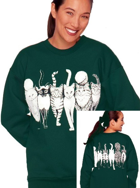 CATS COMING AND GOING SWEATSHIRT FOREST GREEN