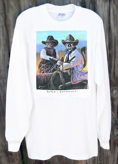 Butch and Sundance Long Sleeved T-shirt by Bryan Moon. Cat Cowboy design