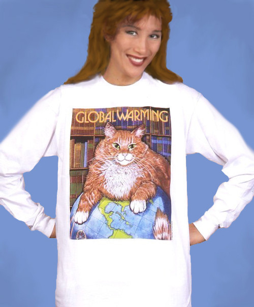 GLOBAL WARMING LONG SLEEVE CAT T-SHIRT WHITE