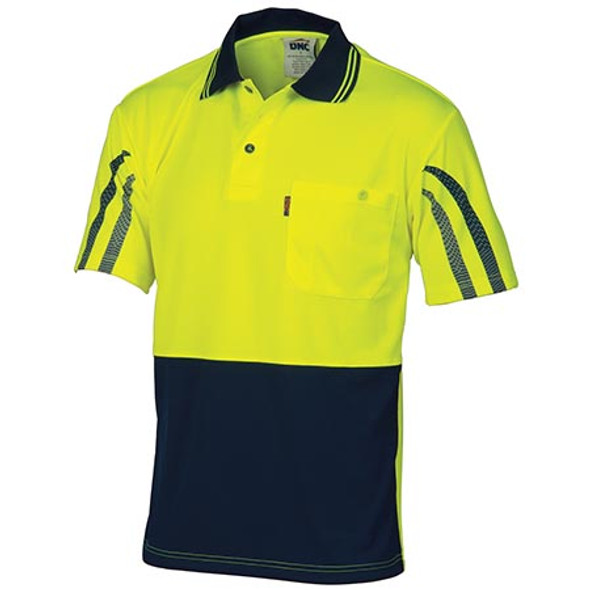 3752 - HiVis Cool-Breathe Printed Stripe Polo - Short Sleeve - Yellow/Navy