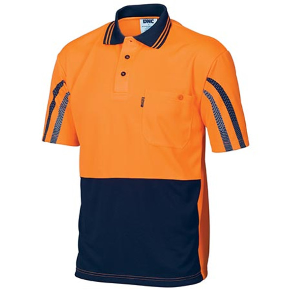 3752 - HiVis Cool-Breathe Printed Stripe Polo - Short Sleeve - Orange/Navy