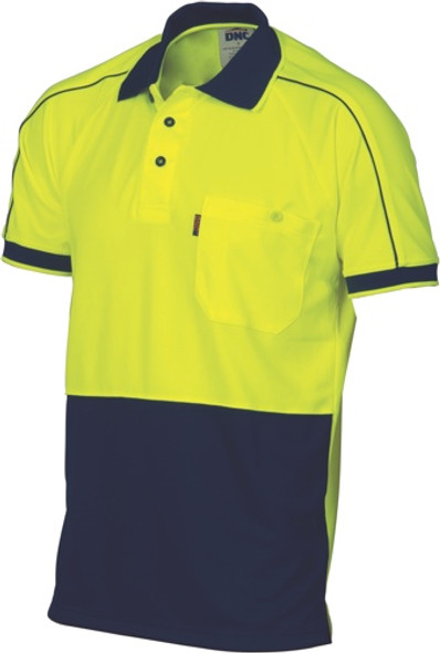 3753 - HiVis Cool-Breathe Double Piping Polo - Short Sleeve