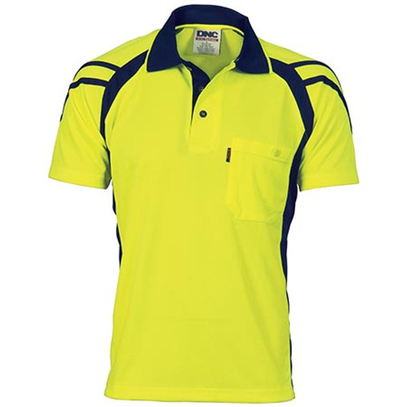 3979 - Cool Breathe Stripe Panel Polo Shirt - Short Sleeve - Yellow/Navy