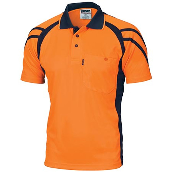 3979 - Cool Breathe Stripe Panel Polo Shirt - Short Sleeve - Orange/Navy