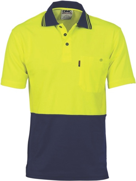 3814 - 185gsm Cotton Back Fluoro Polo Shirt, S/S
