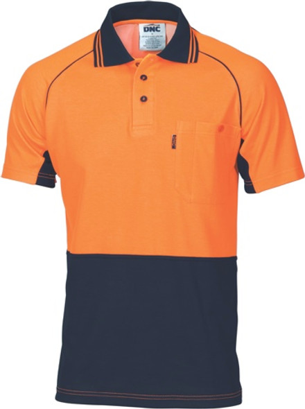 3719 - HiVis Cotton Backed Cool-Breeze Contrast Polo - Short Sleeve
