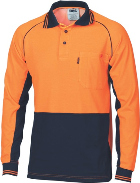 3720 - HiVis Cotton Backed Cool-Breeze Contrast Polo - long Sleeve