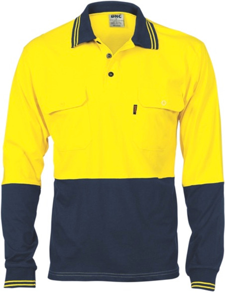 3944 - 200gsm Jersey Polo Shirt w/Vents, L/S