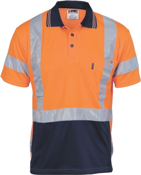 3712  - HiVis D/N Cool Breathe Polo Shirt with Cross Back R/Tape - Short Sleeve
