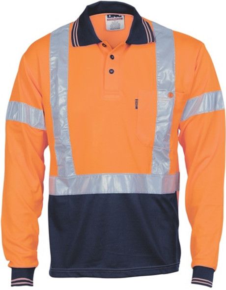 3714 - HiVis D/N Cool Breathe Polo Shirt with Cross Back R/Tape - Long Sleeve