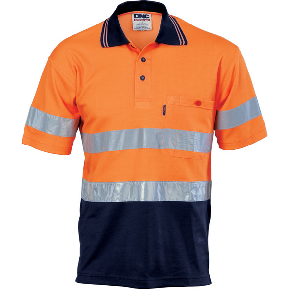 3717 - Hi Vis Two Tone Cotton Back Polos with Generic R.Tape - short sleeve