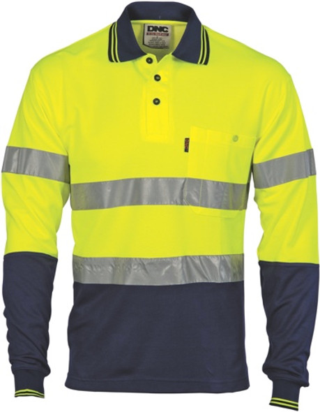 3718 - Hi Vis Two Tone Cotton Back Polos with Generic R.Tape - L/S