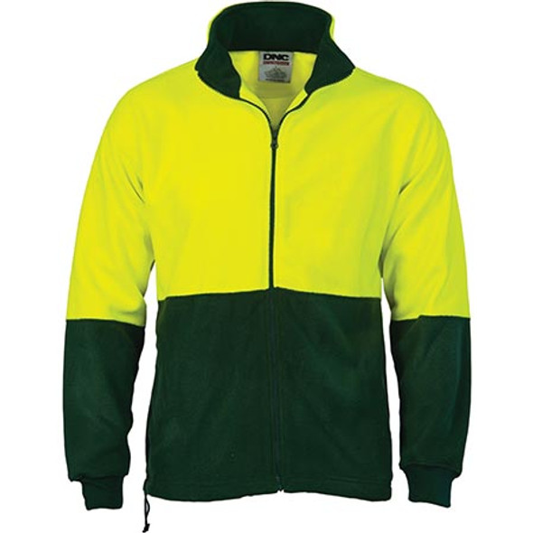 3827 - Hi Vis Two Tone Full Zip Polar Fleece - Yellow-Bottle