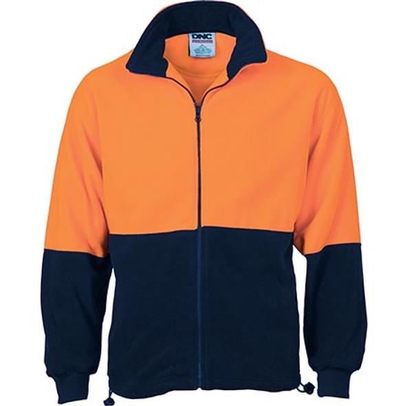 3827 - Hi Vis Two Tone Full Zip Polar Fleece - Orange-Navy