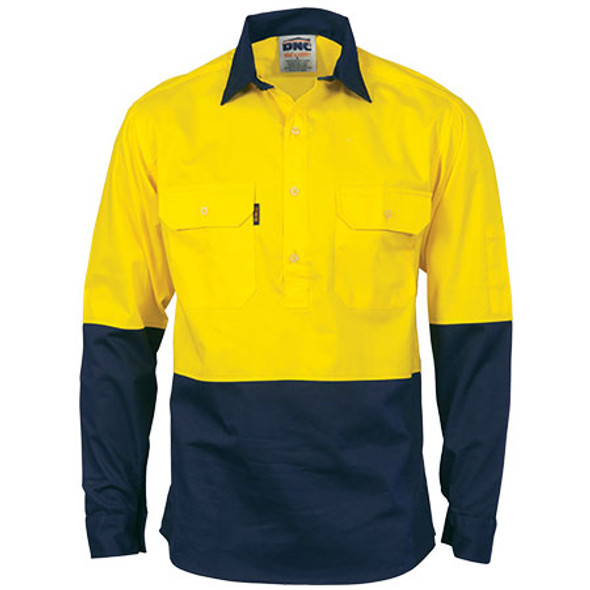 3834 - Hi-Vis Two Tone Close Front Gusset Sleeve L/S Cotton Drill Shirt - Yellow-Navy