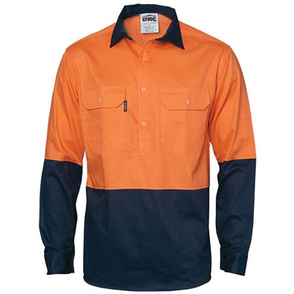 3834 - Hi-Vis Two Tone Close Front Gusset Sleeve L/S Cotton Drill Shirt - Orange-Navy