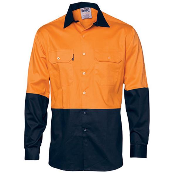 3840 - Hi Vis 2 Tone Cool-Breeze L/S Cotton Shirt - Orange-Navy