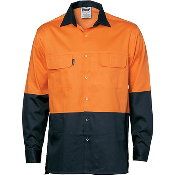3938 - HiVis 3 Way Cool-Breeze L/S Cotton Shirt