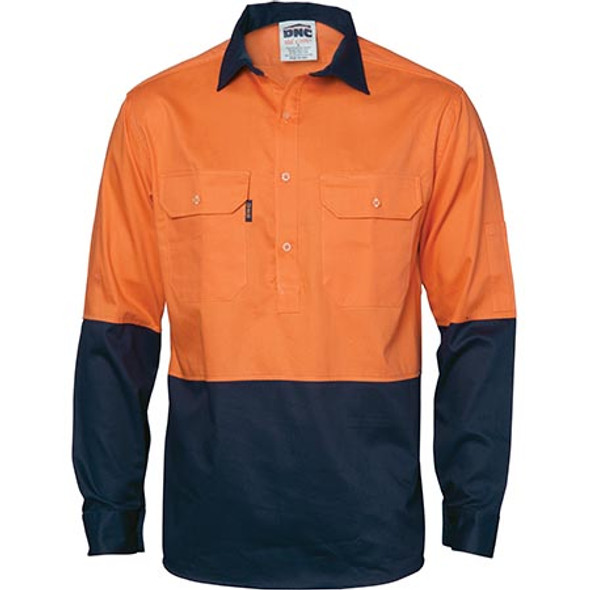 3934 - HiVis 2 Tone Cool-Breeze L/S Close Front Cotton Shirt - Orange/Navy