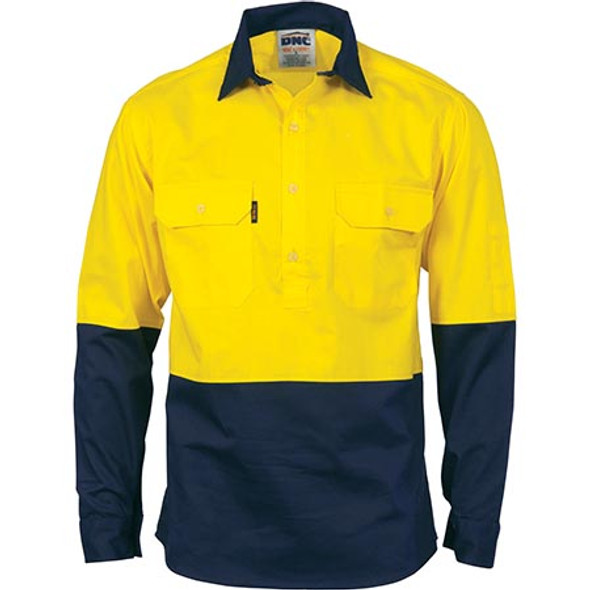 3934 - HiVis 2 Tone Cool-Breeze L/S Close Front Cotton Shirt - Yellow/Navy