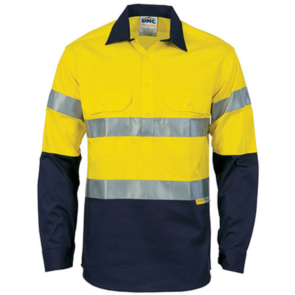 3949 - Hi Vis Cool-Breeze Close Front L/S Cotton Shirt with 3M R/Tape - Yellow/Navy
