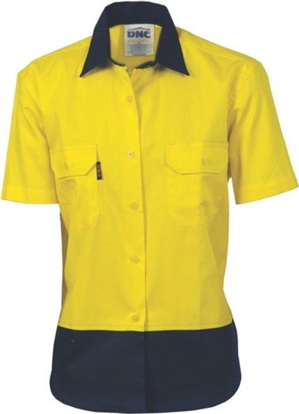 3931 - 190gsm Ladies HiVis Cotton Drill Shirt, S/S