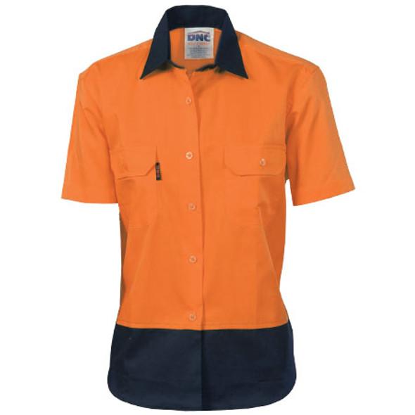 3939 - Ladies HiVis 2 Tone Cool-Breeze S/S Cotton Shirt - Orange-Navy