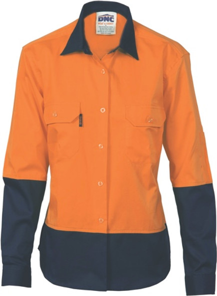 3940 - 155gsm Ladies HiVis Drill Shirt Airflow