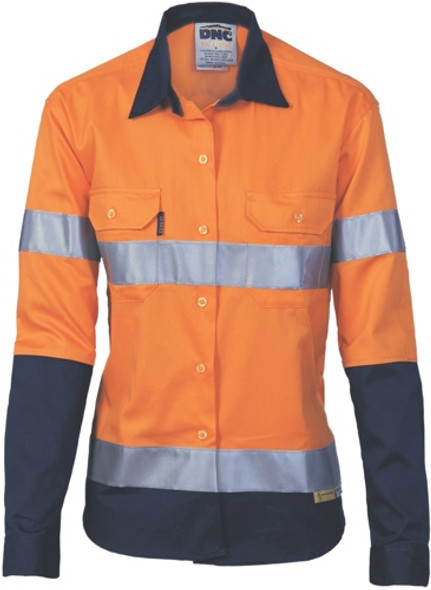 3986 - 155gsm Ladies HiVis Drill Shirt R/Tape