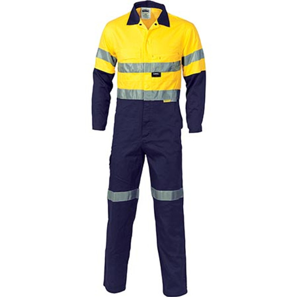 3955 - HiVis Cool-Breeze two tone L.Weight Cotton Coverall w/ 3M R/Tape - Yellow/Navy