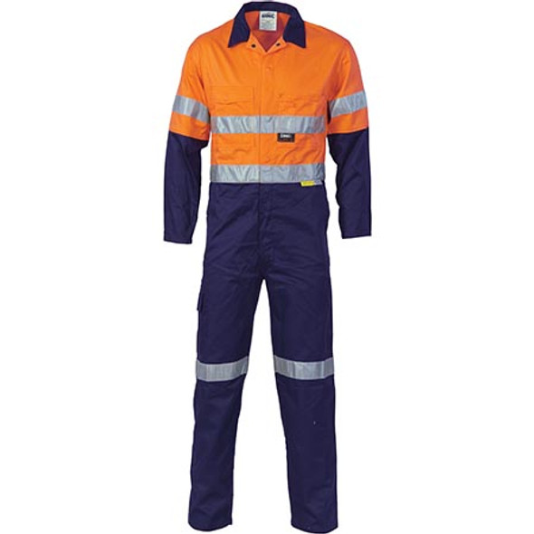 3955 - HiVis Cool-Breeze two tone L.Weight Cotton Coverall w/ 3M R/Tape - Orange/Navy