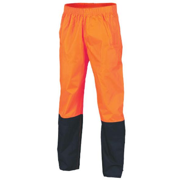 3878 - Hi Vis Two Tone Lightweight Rain Pants - Orange/Navy
