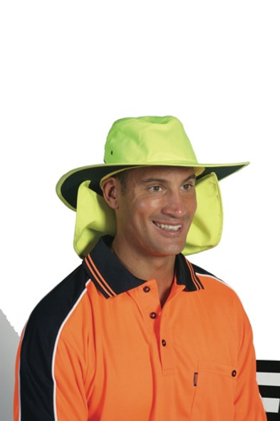 H055 - HiVis Hat with Flap