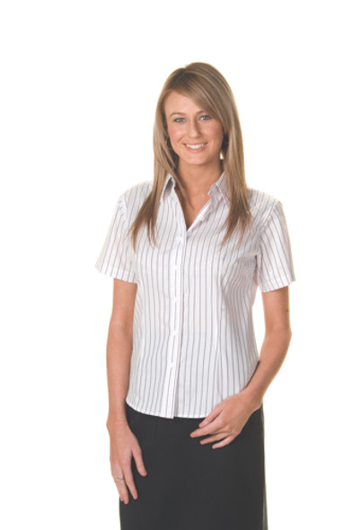 4233 - Ladies Stretch Yarn Dyed Stripe Shirts, S/S