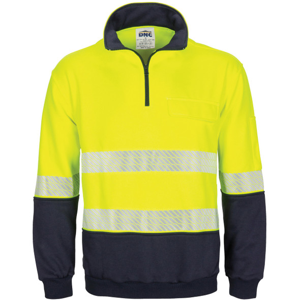 3529 - Hi Vis Segment Taped 1/2 Zip Fleecy Windcheater