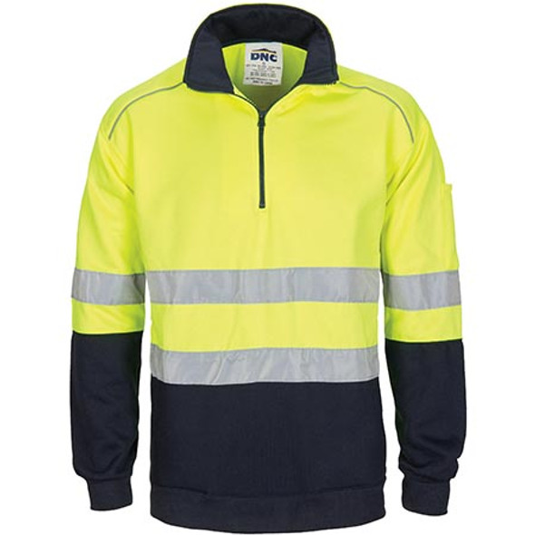 3729 HiVis 1/2 Zip Fleecy with Hoop Pattern CSR Reflective Tape