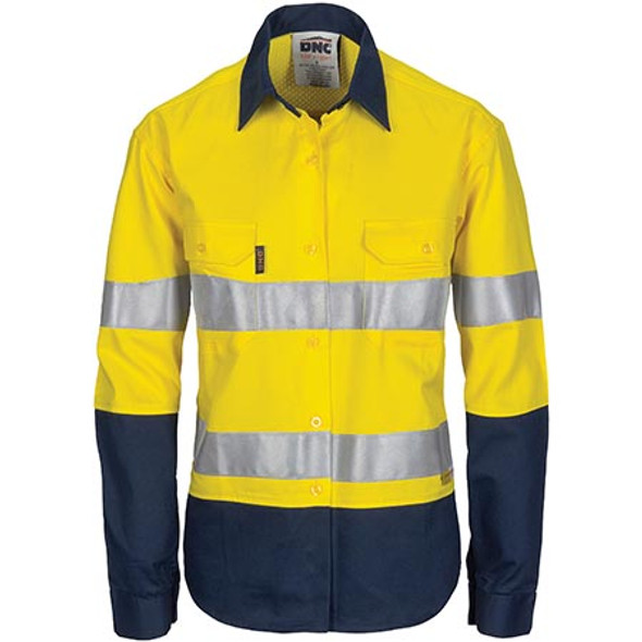 3749 Ladies HiVis 3 Way Cool-Breeze Cotton Shirt with Gusset Sleeve, 3M R/Tape - Long Sleeve.