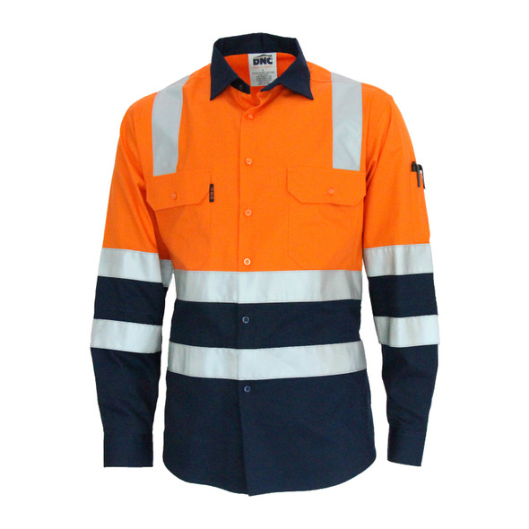 "3547 - Hi Vis 2 Tone L/W Cotton Bio-Motion ""X"" back shirt with CSR R/Tape - L/S"