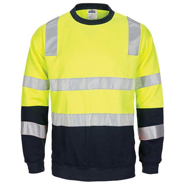 3723 - Hi Vis 2-Tone Crew-Neck Fleecy Sweatshirt w/ Shoulder, double hoop body & Arm CSR R/Tape - Yellow-Navy