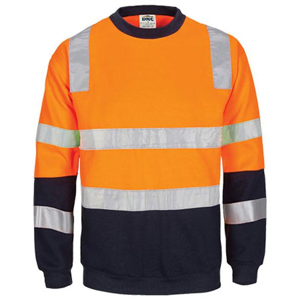 3723 - Hi Vis 2-Tone Crew-Neck Fleecy Sweatshirt w/ Shoulder, double hoop body & Arm CSR R/Tape - Orange-Navy