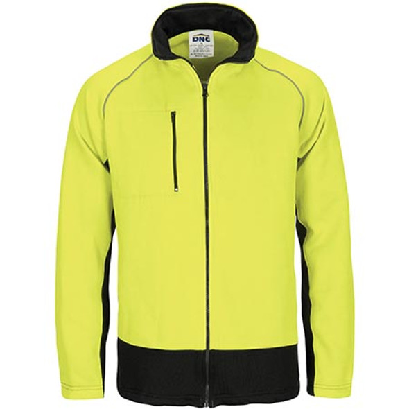 HIVIS 3725 - 2 TONE FULL ZIP FLEECY SWEAT SHIRT WITH TWO SIDE ZIPPED POCKETS
