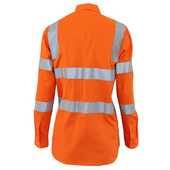 3742 Ladies HiVis L/W Cotton VIC Rail CSR Shirt - DNC Workwear