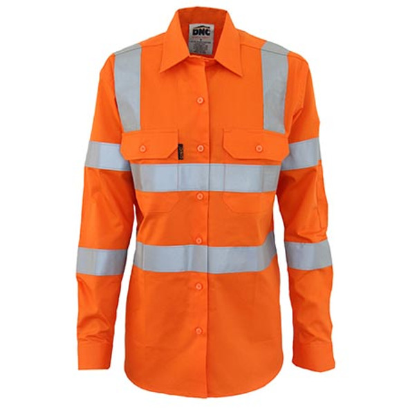 Orange - 3742 Ladies HiVis L/W Cotton VIC Rail CSR Shirt - DNC Workwear