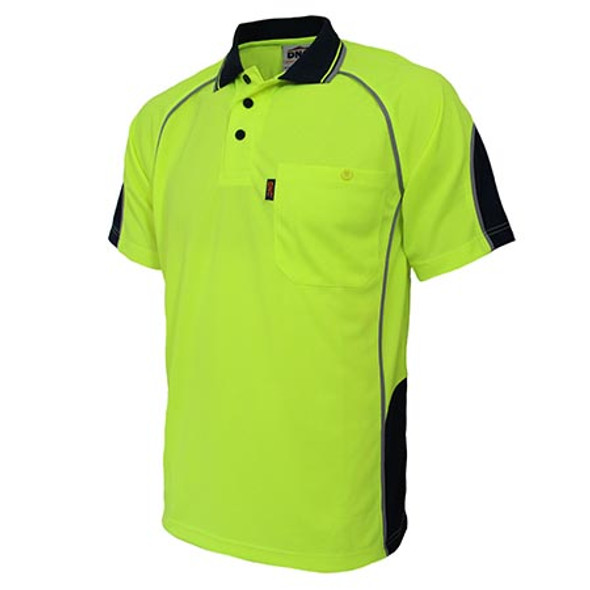 Yellow-Navy - 3569 Hi-Vis Semicircle-Piping Polo - DNC Workwear